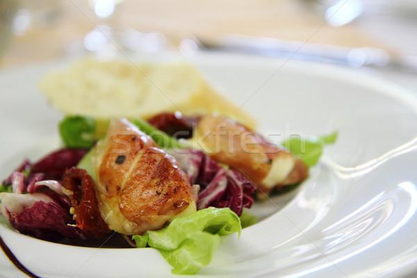mozzarella grilled in the pig ham as gourmet food background Stock photo © jonnysek