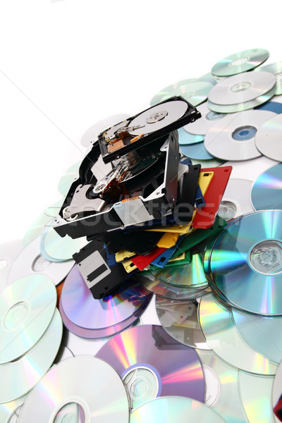 hdd, floppy, dvd and cd-rom  data background Stock photo © jonnysek
