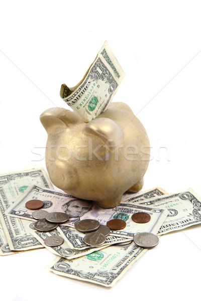 Arany disznó bank dollár pénz dollár Stock fotó © jonnysek
