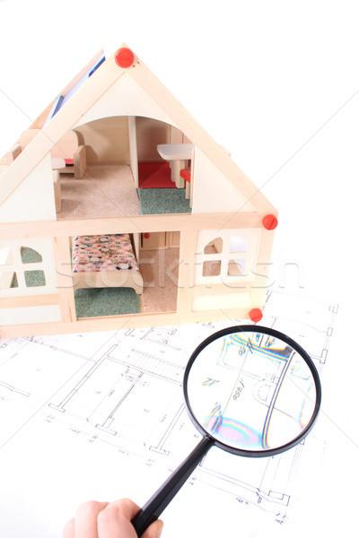 планов модель дома игрушку здании фон Сток-фото © jonnysek