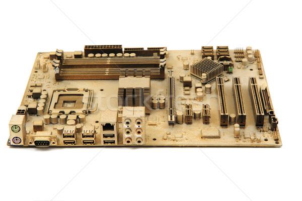Stockfoto: Computer · moederbord · geïsoleerd · witte · achtergrond · groene