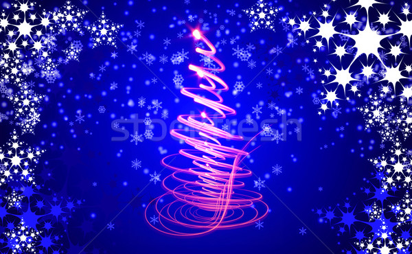 christmas background with snow flakes  Stock photo © jonnysek