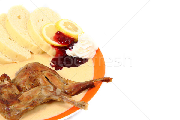 Pörkölt nyúl hús sárgarépa kolbász izolált Stock fotó © jonnysek