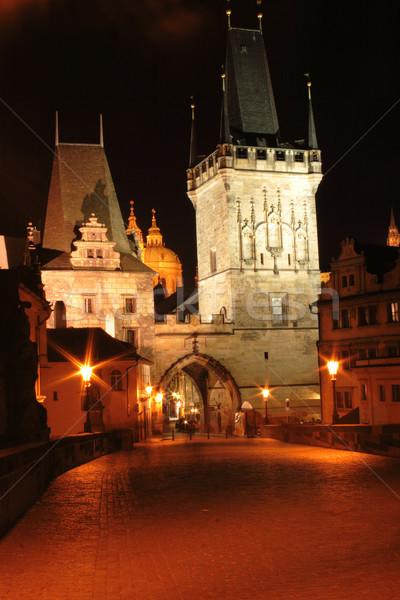 Prag gece eski binalar bulutlar ışık Stok fotoğraf © jonnysek