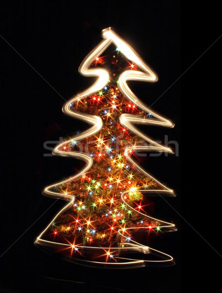 árvore luzes preto fundo verde Foto stock © jonnysek