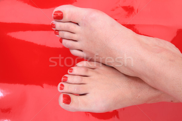 pedicure (color nails) and women feet Stock photo © jonnysek