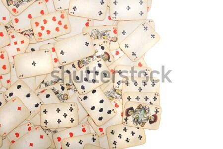 Oude speelkaarten mooie casino geld zwarte Stockfoto © jonnysek