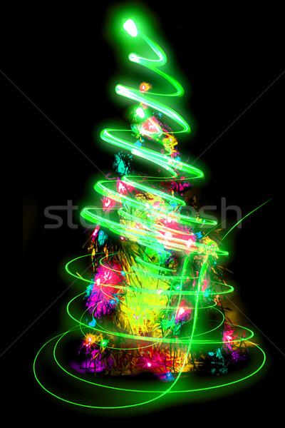 Noël arbre vert lumières noir forêt Photo stock © jonnysek