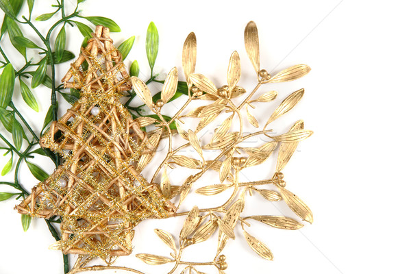 Stock photo: green and gold christmas mistletoe background
