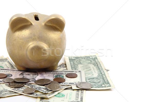 золото свинья банка долларов деньги доллара Сток-фото © jonnysek