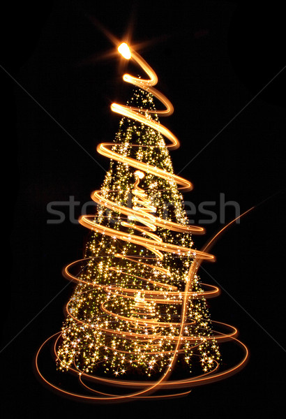 ストックフォト: クリスマス · ツリー · ライト · 黒 · 光 · 冬