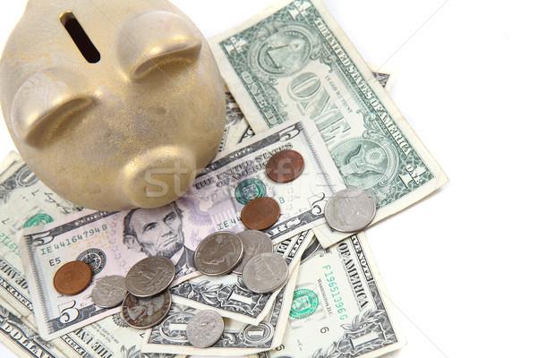 gold pig bank and dollars  Stock photo © jonnysek