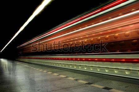 Prague station (subway in the motion) Stock photo © jonnysek