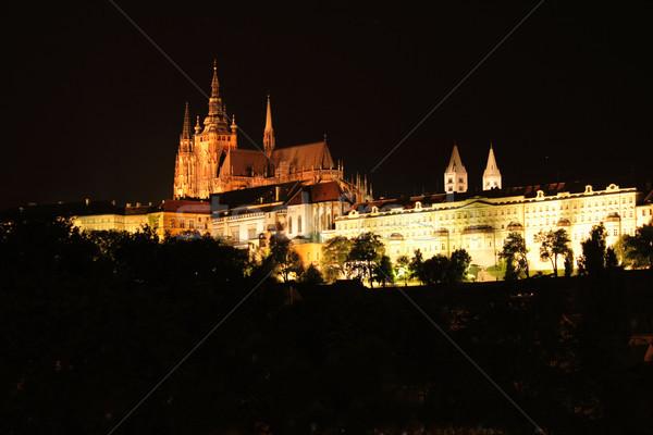 Prague nuit vieux bâtiments maison ville Photo stock © jonnysek