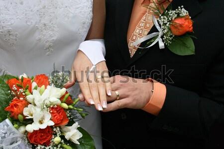 Mariage vêtements détail belle fleurs mains Photo stock © jonnysek