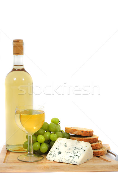 wine, grapes, cheese and bread on the white background Stock photo © jonnysek