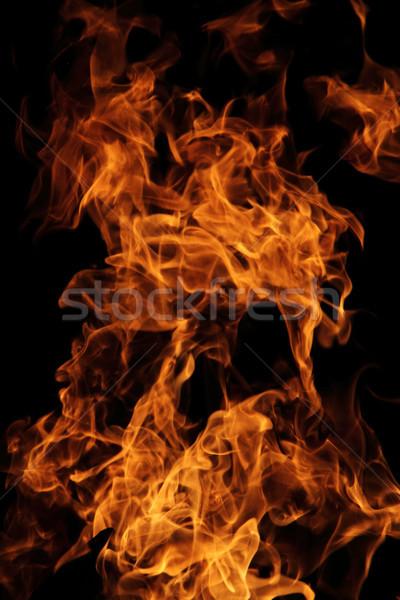 Fogo vermelho laranja isolado preto textura Foto stock © jonnysek