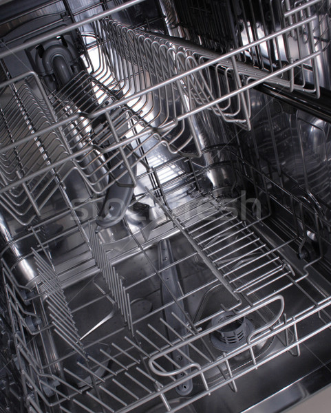 Vaatwasmachine machine binnenkant lege werk metaal Stockfoto © jonnysek