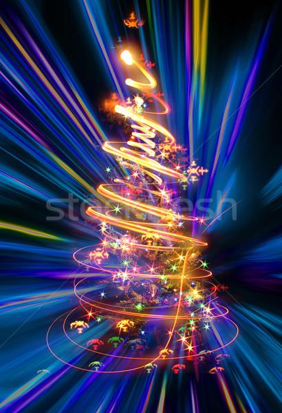 Arbre de noël lumières noir lumière hiver graphique Photo stock © jonnysek