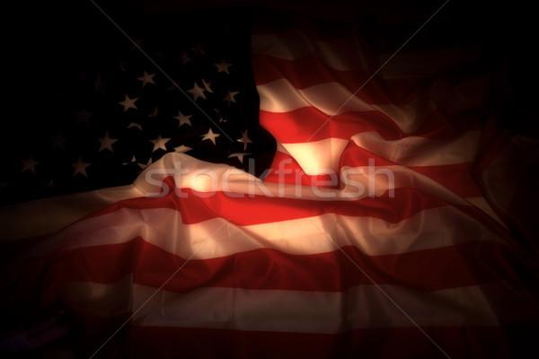 USA flag in the dark Stock photo © jonnysek