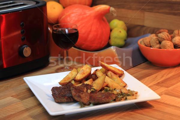 steak with potatoes and wine Stock photo © jonnysek