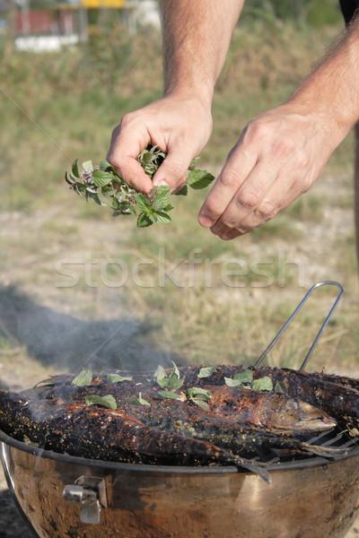 preparing grilled fishes  Stock photo © jonnysek
