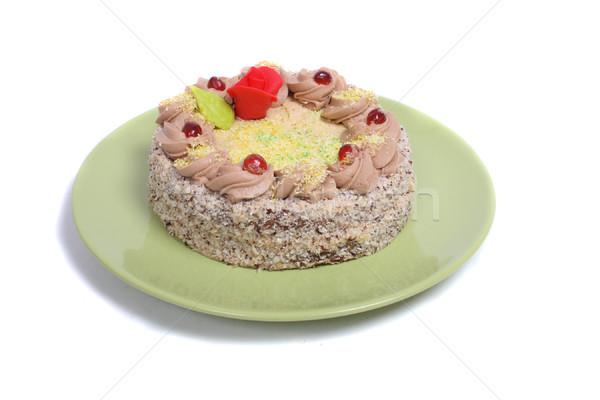 Bolo de aniversário pequeno branco deserto bolo vela Foto stock © jonnysek