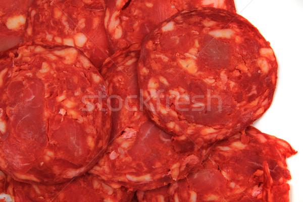 Fraîches salami texture Nice fond Photo stock © jonnysek