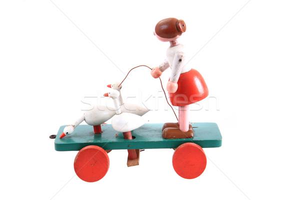 Foto stock: Velho · brinquedo · de · madeira · isolado · branco · carro · fundo