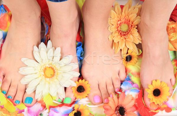 педикюр ногти ног цветы изолированный зеленый Сток-фото © jonnysek