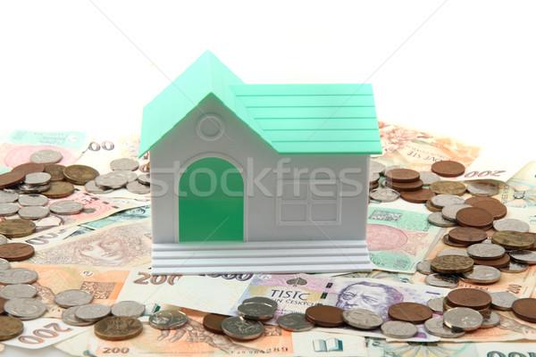 Tchèque argent maison isolé blanche famille Photo stock © jonnysek