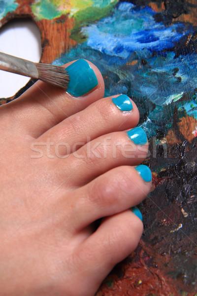 Vrouwen voeten kleuren pedicure mooie gezondheid Stockfoto © jonnysek