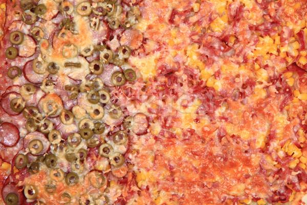 Ev yapımı pizza doku gurme gıda arka plan domates Stok fotoğraf © jonnysek