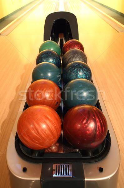 Boliche recipiente colorido esportes laranja Foto stock © joruba