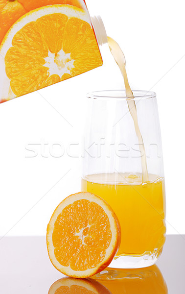Fresco suco vidro comida laranja caixa Foto stock © joruba