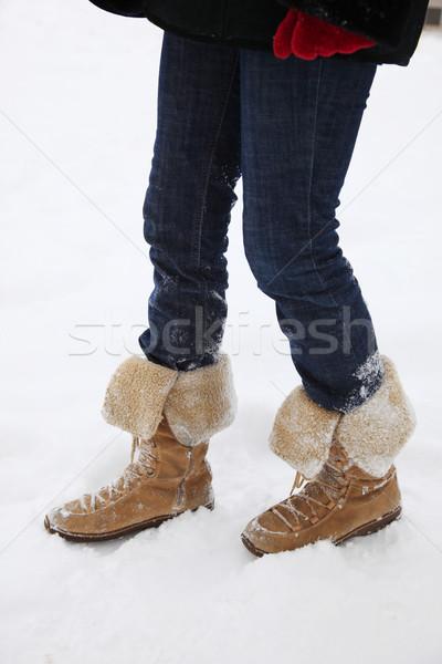 Bota neve pessoa botas inverno Foto stock © joruba