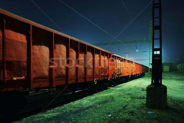 Vonat éjszaka öreg sebesség ipari acél Stock fotó © joruba