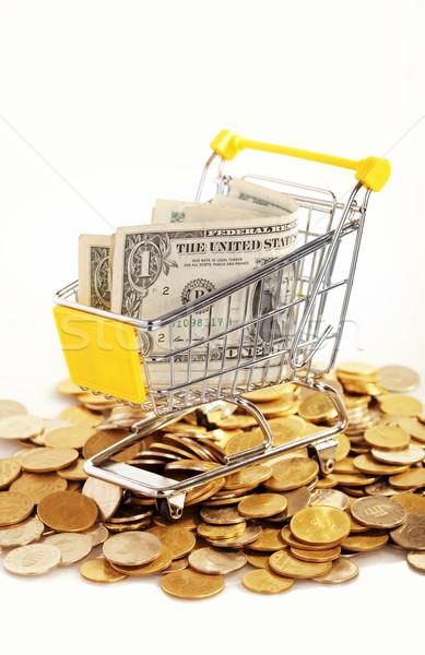Comércio dinheiro carrinho branco negócio compras Foto stock © joruba