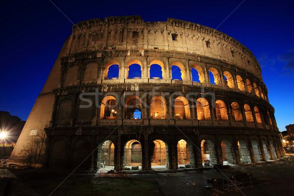 Colosseum Roma gece İtalya gökyüzü mavi Stok fotoğraf © joruba