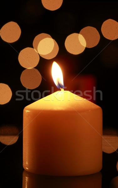 Vela chama abstrato fogo luz escuro Foto stock © joruba