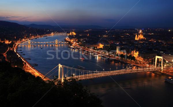 Budapeste danúbio noite ponte azul rio Foto stock © joruba
