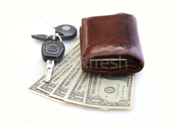 Cüzdan para yalıtılmış beyaz araba arka plan Stok fotoğraf © joruba