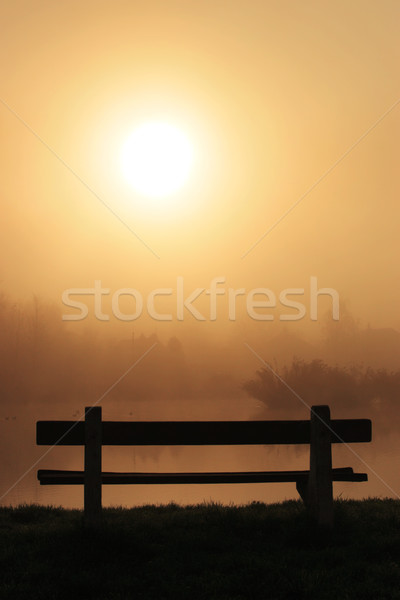 Bench on a foggy morning Stock photo © joruba