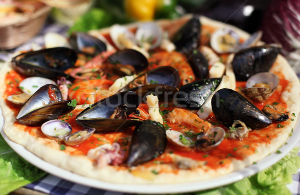 Frutos do mar italiano pizza queijo tomates fresco Foto stock © joruba
