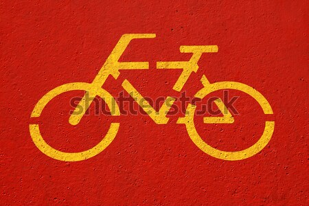 Stock fotó: Bicikli · felirat · piros · sáv · utca · festék
