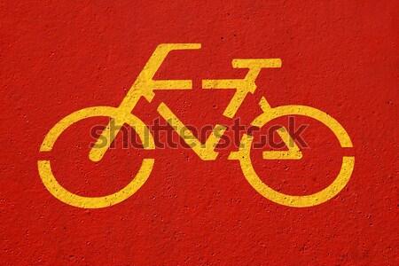 Bicicleta assinar vermelho rua pintar Foto stock © joruba
