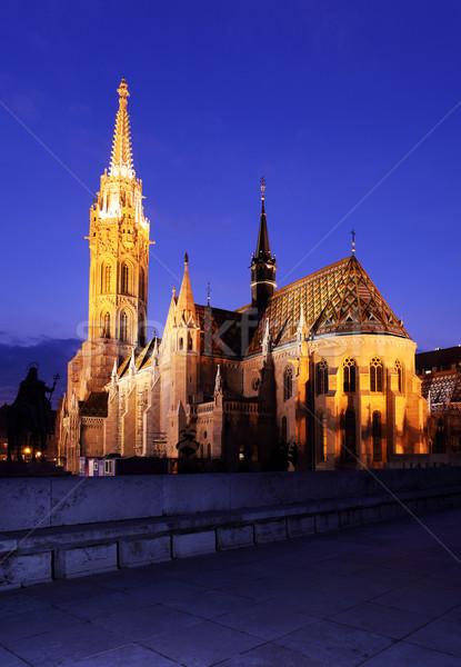 Budapeste igreja noite céu azul viajar Foto stock © joruba