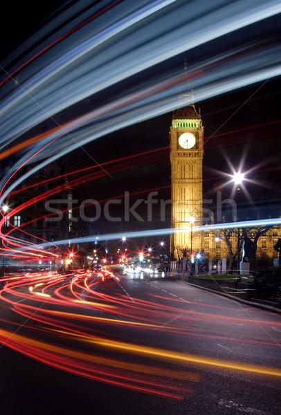 Stok fotoğraf: Trafik · Londra · Big · Ben · gece · araba · sokak