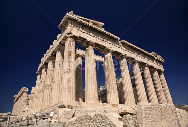 Partenón Grecia oscuro cielo azul edificio azul Foto stock © joruba