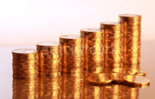 Moedas seis moeda negócio dinheiro metal Foto stock © joruba